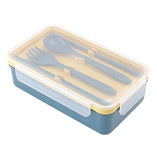 AIFUSI Bento Box - Fiambrera de plástico, antigoteo, capacidad de 1100 ml, con compartimentos, ideal para senderismo, viajes, escuela, niños y adultos