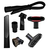 KINW Flexible Crevice Kit Vacuum Attachments Accessories Cleaning Kit Brush Nozzle Crevice Tool for 1 1/4 inch& 1 3/8 inch Standard Hose 7pcs