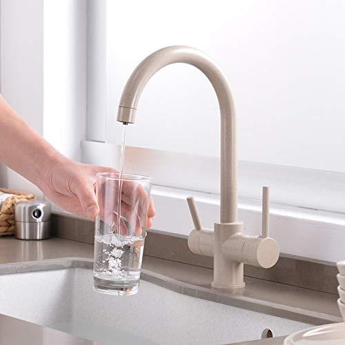 JTSLT kraan voor keukenwater, 360 graden gefilterd, draaibaar en dubbel, rechthoekig en rechthoekig, messing, kraan voor wastafel