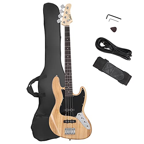 GLARRY 4 String GJazz Electric Bass Guitar Full Size Right Handed with Guitar Bag, Amp Cord and Beginner Kits (Burly Wood)…