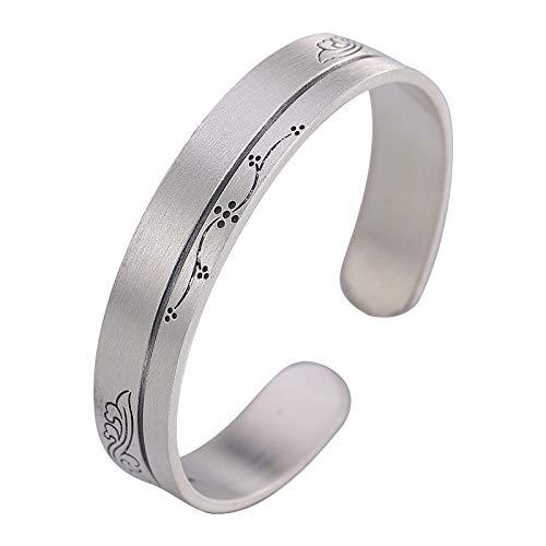 THTHT S Vintage armband voor dames en heren, 925 zilver, met bloemenbloesems, kunstopening, simpel en eenvoudige Chinese stijl, persoonlijkheid, creatief mooi charme cadeau
