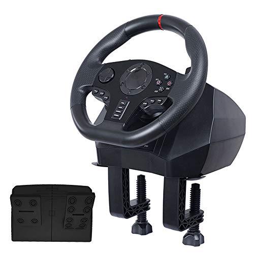 LLGHT Lenkrad und Bremse Pedale für Die Sechs Plattform-Rennspiele PC / PS3 / PS4 / Switch/Xbox ONE/Xbox 360, 900 ° / 270 ° Drehung, Professionelle Schalthebel, Vibrations-Feedback