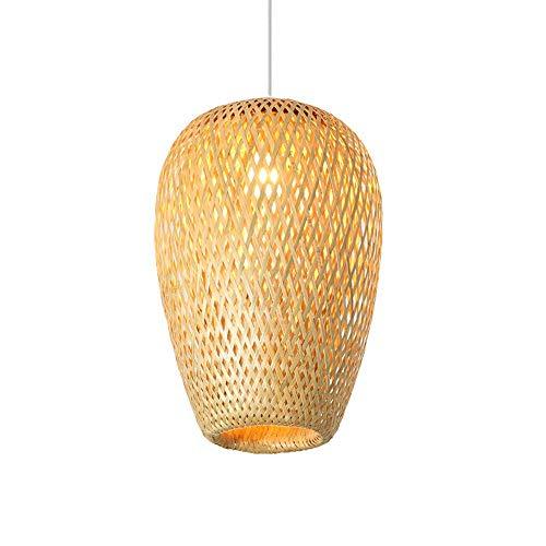 wangch Candelabro de bambú Creativo Retro / E27 Sala de Estar Ajustable Comedor Candelabro de ratán/Cafe Bar Decoración Pantalla Lámpara de Techo Pasillo de la casa de té Luz de Techo
