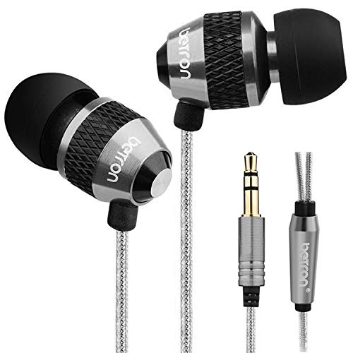 Betron B25 Earbuds with Powerful Bass and Dynamic Sound, Noise Isolating Earphone with Replaceable Ear Bud Tips, Portable Headphones for iPhone, iPad, Samsung, Android Devices and Smartphones, Black