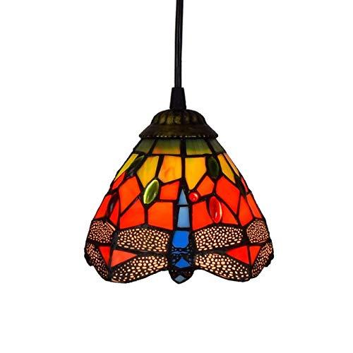 Candelabros de vidriera estilo Tiffany Lámpara colgante pequeña Libélula Lámpara colgante de vidrio rojo Lámpara colgante de techo Pantalla para comedor Cocina Isla Dormitorio E26 / E27 elegant