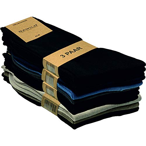 GAWILO 12 Paar Natur-Baumwollsocken – Damen & Herren – 100prozent reine Baumwolle – ohne Naht (43-46, farbig)
