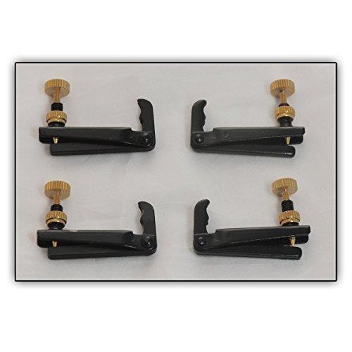 4 Feinstimmer 4/4- sowie 3/4-Bratsche, Viola, Metall Saitenfeinstimmer, Set à 4 Stück - Traditionelles Design (Farbe: Schwarz)