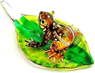 Handmade Mini Orange Frog with Leaf Art Glass Blown Animal Figurine No.1 - Model Y2016