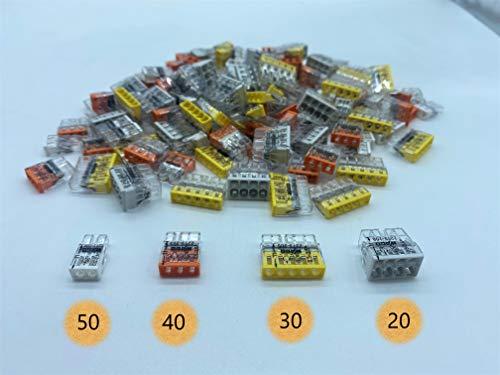 140 Stück Wago Klemmen Sortiment Steckklemme Verbindungsklemme Compact 2273-202 203 205 208