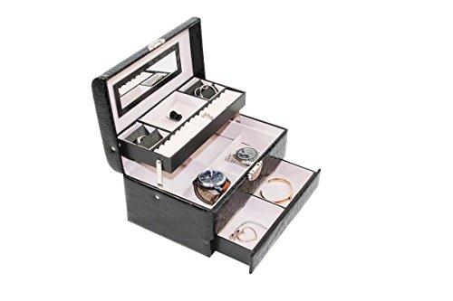1PLUS abschließbares Schmuckkästchen Schmuckkoffer mit Spiegel, 1 Schublade und vielen Fächern, Schwarz