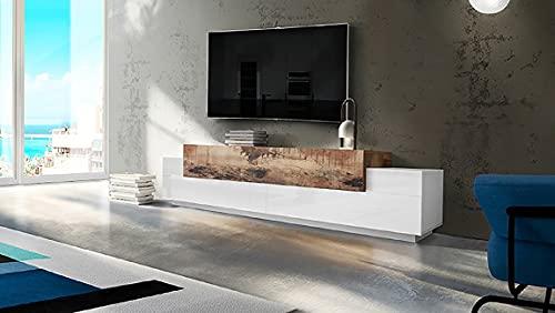 Homemania Soporte de TV Coro con Puertas y Estantes, Tablero de Aglomerado de Melamina, Blanco, Arce, 240 x 45 x 51.5 cm