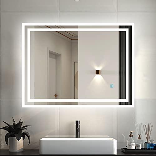 Espejo de baño con iluminación LED, 80 x 60 cm, espejo de baño con luz, espejo de pared, interruptor táctil, antivaho, IP44, blanco frío, bajo consumo