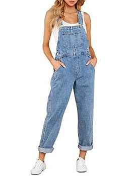 Vetinee Women s Dark Blue Classic Adjustable Straps Pockets Boyfriend Denim Bib Overalls Jeans Pants Medium