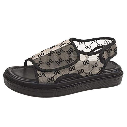 ZJMM Sandalias Planas para Caminar En Color Beige Verano para Mujeres Wild Student Velcro Punta Abierta Playa para Mujer Malla Transpirable Zapatos De Mujer