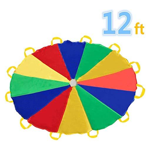 Sonyabecca Paracaídas 12' con 12 Asas para Interior o Exterior 3.50 m (niños de 6-12 años)
