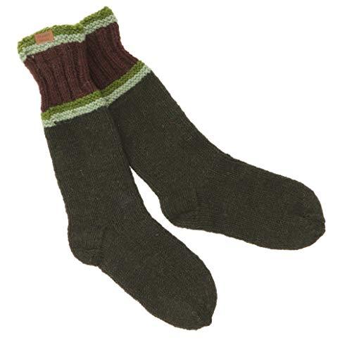 Guru-Shop Handgestrickte Schafwollsocken, Haussocken, Nepal Socken, Herren/Damen, Olivgrün, Wolle, Size:Large, Socken und Beinstulpen Alternative Bekleidung
