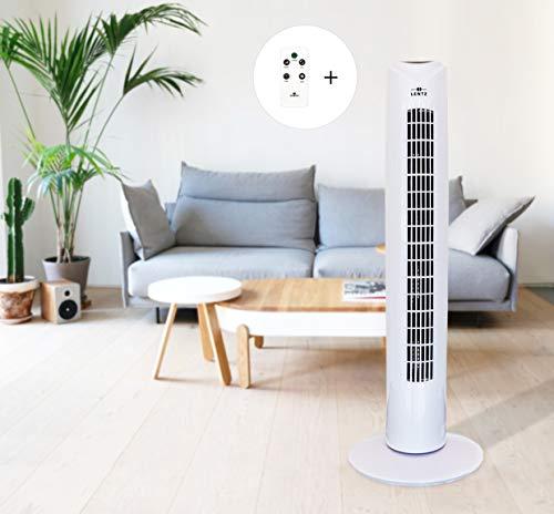 Turmventilator 81 cm 45 Watt mit 3 Geschwindigkeitsstufen und Zeitfunktion , Oszillierend , Tragegriff und Fernbedienung Säulenventilator (Weiss)