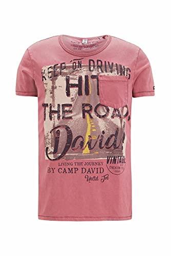 Camp David Herren T-Shirt mit Vintage Print und Tasche