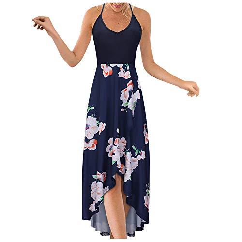Vestido largo para mujer, floral, casual, suelto, sin mangas, camisola, verano, playa, vestido largo