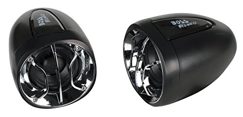BOSS Audio Systems MC300 Weatherproof 2.5 Inch 400 Watt Motorcycle ATV Amplified Speaker System with Chrome and Black Grilles, 3.5 mm Aux Input, Volume Control and Handlebar Mount