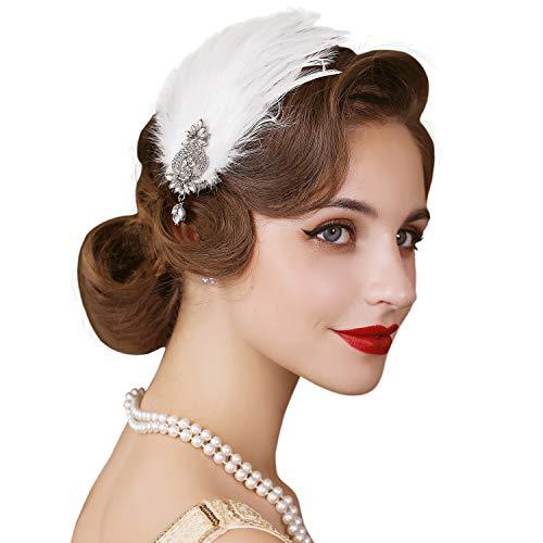 SWEETV Bandeau à plumes style années 1920 - Accessoire pour cheveux - Blanc