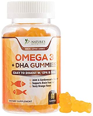 Omega 3 Fish Oil Gummies Extra Strength DHA & EPA - Support for Brain, Joints, Heart, Eyes & Immune System Health, Tasty Gummy Vitamin for Men & Women - 60 Gummies