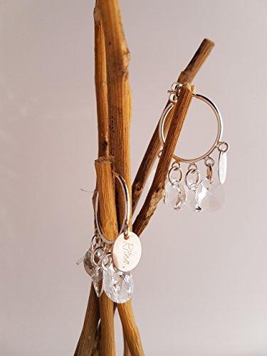 Boucles d'oreilles créoles rites et cristal de swarovski en argent 925 pour femmes