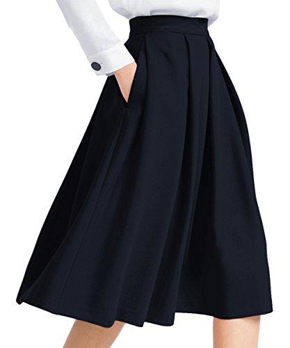 Yige Falda Plisada de Cintura Alta con Bolsillo para Mujer - - 50
