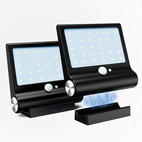 Luz Solar Exterior,M-T-K [Versión Desmontable Magnética] Foco Solar Potente con Sensor de Movimiento y 3 Modos de Lluminación Lámpara Solar Exterior Lmpermeable Luces Solares Jardín 2-Paquete