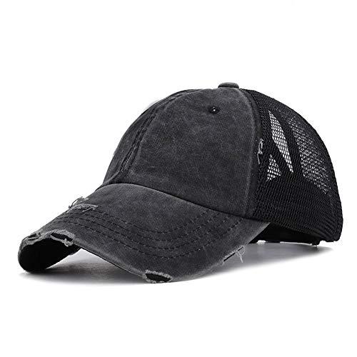 JYOHEY Baseball Cap Damen Vintage Cap im Washed Used Look Baseballkappe Pferdeschwanz Cap UV Sonnenhut Einstellbar Baumwollkappe (Trucker Mesh-Schwarz)