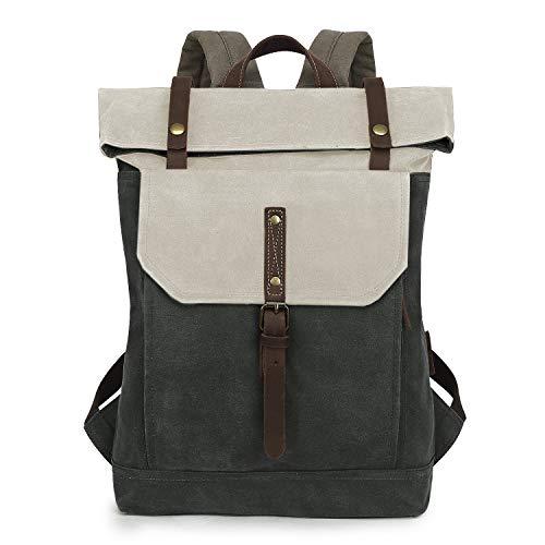 WindTook Canvas Leder Rucksack Daypack Vintage Retro Tagesrucksack für Damen Herren Uni Alltag Job mit Laptopfach Wasserdicht 14 Zoll, 31 x 12 x 42 cm