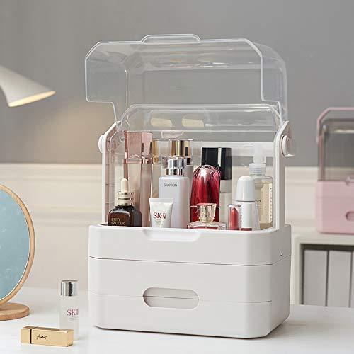 LSJZF Organizador de Maquillaje, Joyas, cosméticos, Cajas de Almacenamiento con Cubierta Transparente, diseño Resistente al Agua y al Polvo, 2 cajones