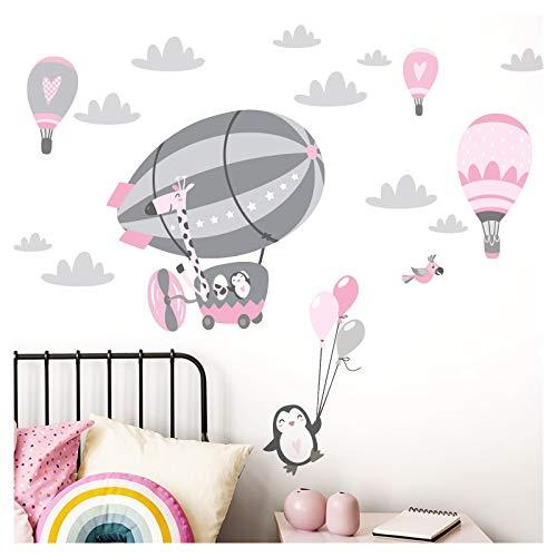 Little Deco Wandsticker Kinderzimmer Mädchen Giraffe im Zeppelin I rosa pink grau - 151 x 79 cm (BxH) I Aufkleber Wandaufkleber Kinder Wandtattoo Pinguin mit Luftballons DL370