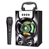 Subwoofer, subwoofer estéreo con altavoz Bluetooth portátil para exteriores compatible con USB TF AUX y micrófono, fiesta en casa