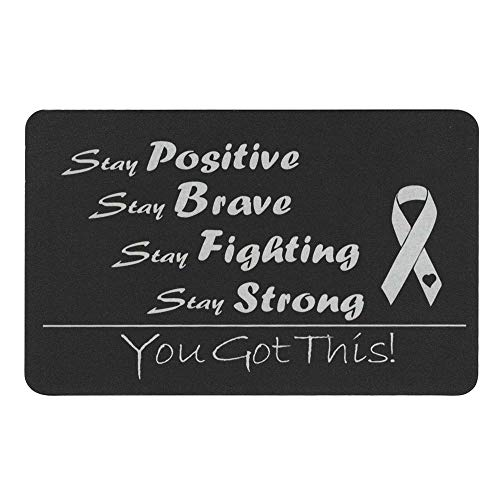 Queenberry SPA1018-SP-PAR, Portafogli Donna Nero Stay Positive Text Engraving (Aluminum) Regular