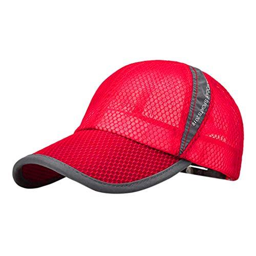 Fenverk Klassische Baseball Cap für Damen und Herren aus Reiner Baseballkappe,Sommer Mütze Baseball Cappy Low Profile Men,Schnelltrocknend(rot)