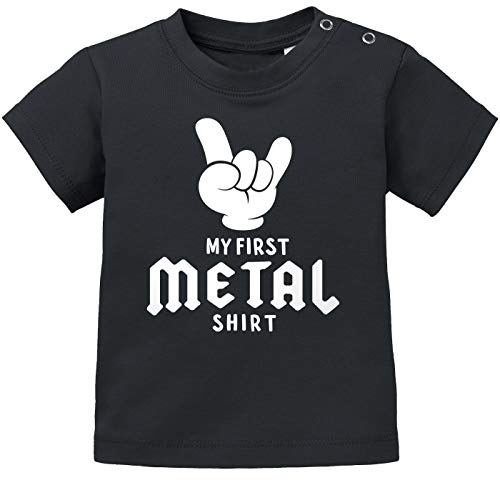 MoonWorks® Baby T-Shirt Kurzarm Babyshirt My First Metal Shirt Hardrock Heavy Metal Jungen Mädchen Shirt schwarz 68/74 (4-9 Monate)