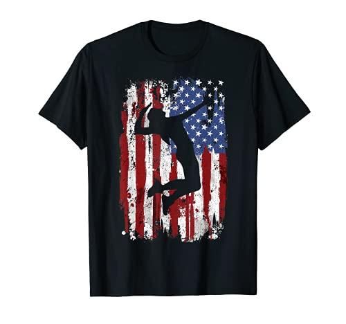 Voleibol Vintage Bandera Americana Camiseta