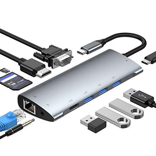 STRENTER Hub USB C, Adaptador USB C 11 en 1 con 4...