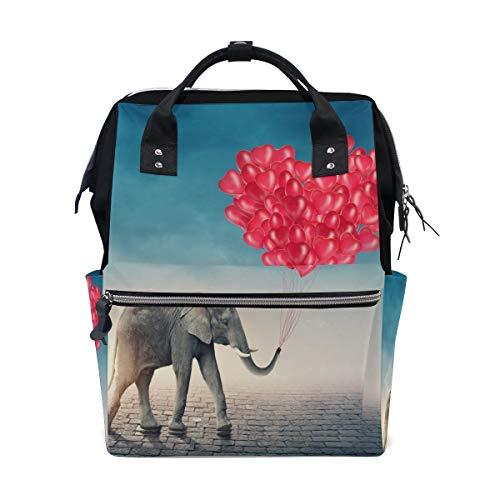 Bolsa de viaje multifuncional con diseño de elefante rojo y globo