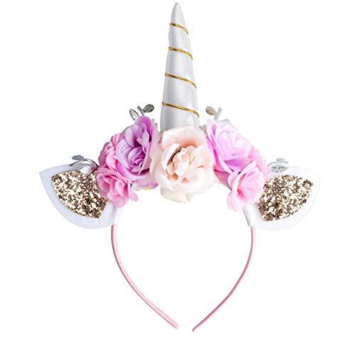 Einhorn Stirnband für Mädchen weiß Einhorn Horn Stirnband mit Ohren und Blumen für Halloween Weihnachten Geburtstag Party Cosplay 1 Stück