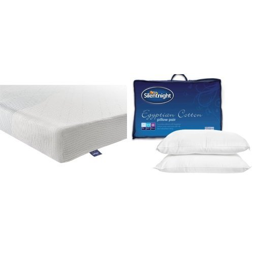 Silentnight 3-Zone Memory Foam Rolled Mattress with a Pair of Egyptian Cotton Pillows - Double