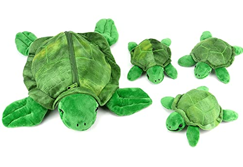 """13.5"""" Sea Turtle Stuffed Animal with Babies, Soft Turtle Plush Toy with Zipper Pocket, Mini Hatchling Plushie Birthday for Kids"""