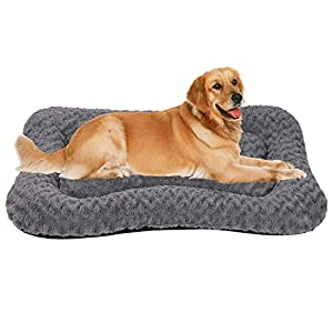 Coohom Deluxe Plush Calming Dog Bed Pet Cushion Crate Mat,Machine Wash Pet Bed for Medium Large Dogs (XLarge, Grey)