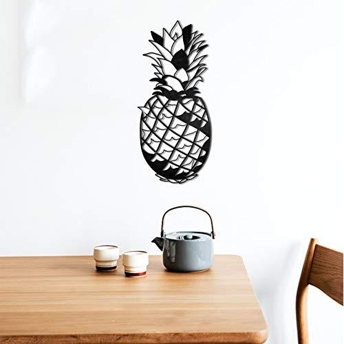 KESTEX XL ANANAS WANDBILD WALL ART METAL 23 x 50 cm schwarz pulverbeschichtet WAND DEKO Premium | Geometrische Metallwandkunst Wanddekoration