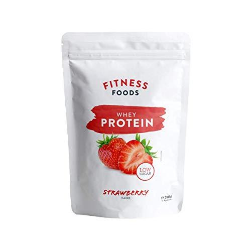 Fitness Foods Whey Protein | Strawberry – 390g | Premium Eiweiß| Proteinpulver