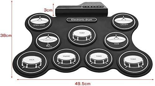 Zixin Interessante E-Drum Pad - USB-Roll-Up Drum Praxis Kit - 9 Beschriftete Pads und 2 Pedale for Anfänger Kinder Kinder (Keine Lautsprecher/AAA-Batterie betrieben)