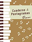 Cuaderno de pentagramas para piano: Cuaderno en blanco para escribir notación musical. Cuaderno de música con 3 sistemas dobles por página. Ideal para estudiantes, profesores o músicos de piano.