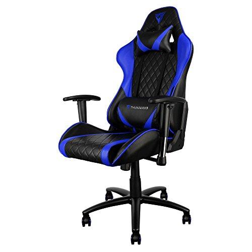 ThunderX3 TGC15BB Sillas Gaming Profesional, Vinilo, Azul, 33x55x83 cm