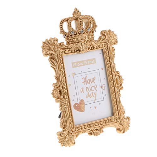 Vintage Gold Resin Crown Style Picture/Photo Frame Desk Bedroom Home Décor - Rectangle 6 Inch
